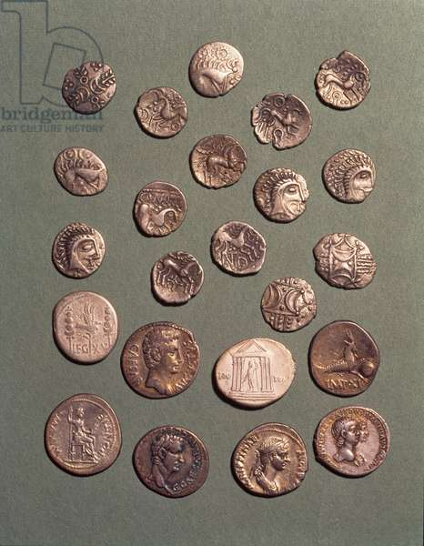 Selection of Celtic and Roman silver coins found at Eriswell, Suffolk, including characteristic coins of the Icenii tribe and a newly minted denarius of Nero (54-68)