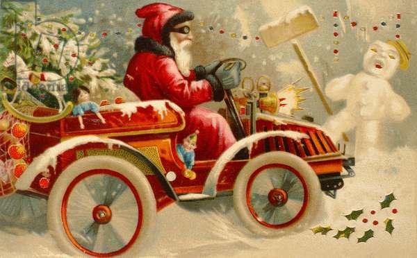 Winter Motoring, Victorian postcard