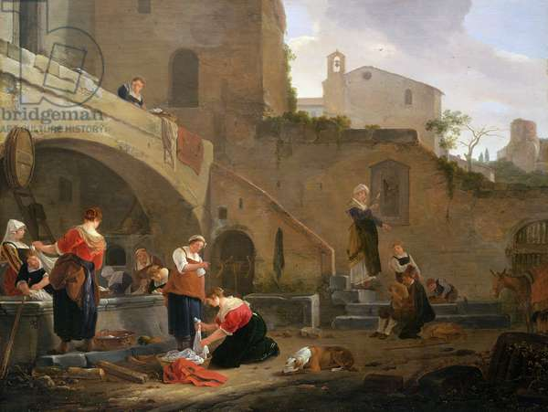 Washerwomen by a Roman Fountain (oil on canvas)