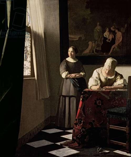 Lady writing a letter with her Maid, c.1670 (oil on canvas)