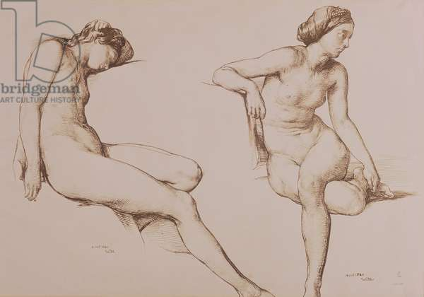 Sepia Drawing of Nude Woman, c.1860