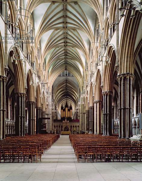 Lincoln Cathedral, 1185–1311, View of the nave, built 1215-55, Lincolnshire, UK (photo)