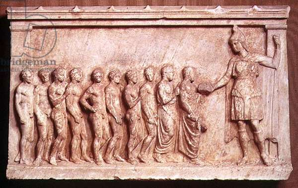 Votive relief honouring the goddess Bendis, Greek, 350BC (marble)
