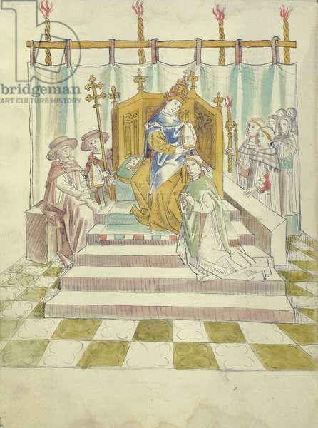 f.44 Anti-Pope John XXIII (Baldassare Cossa) (c.1370-1419) rewarding a supporter at the end of the 'Great Schism' in the Christian Church, c.1417