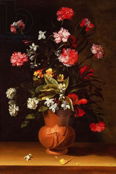 Still life with flowers (oil on panel)