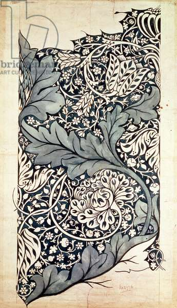 Design for Avon Chintz, c.1886 (pen & ink with w/c on paper)