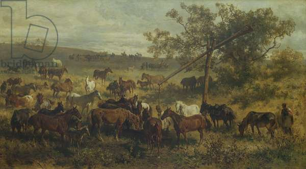 Horses at a Trough, 19th century