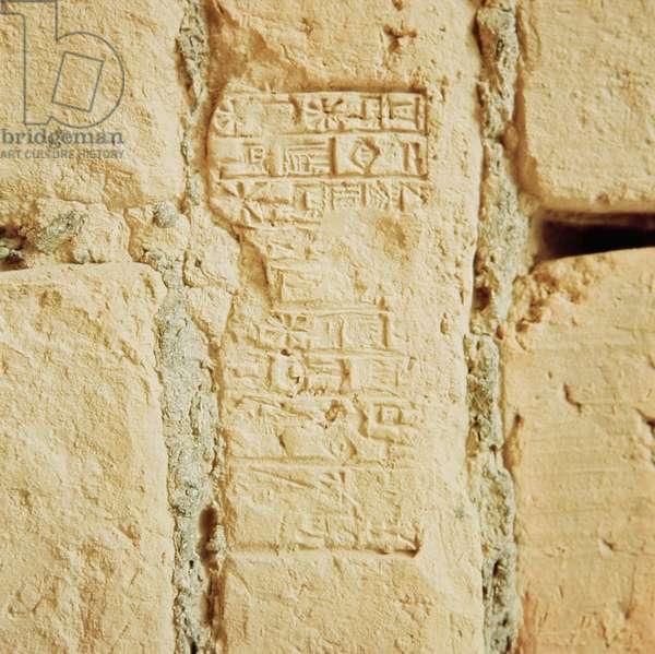 Cuneiform script on a palace wall (stone)