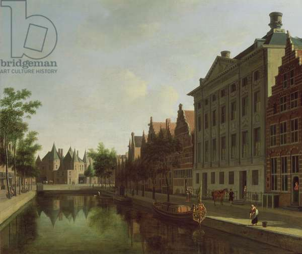 View of the Kloveniersburgwal in Amsterdam, with the Waag, and barge moored in the front of Trippenhuis to the right, 1685