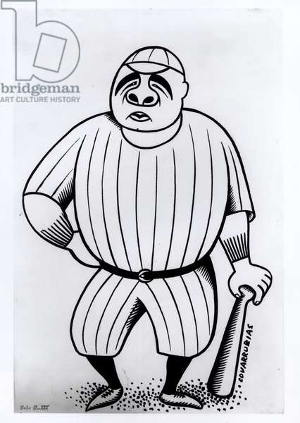 Caricature of Babe Ruth (1895-1948) c.1925 (pen & ink on paper) (b/w photo)