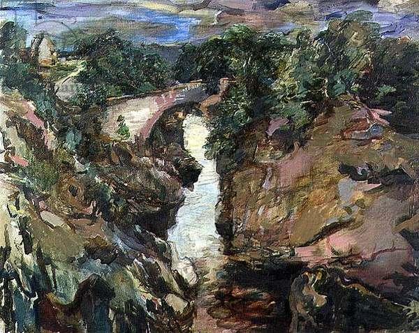 Dulsie Bridge, Scotland, 1929 (oil on canvas)