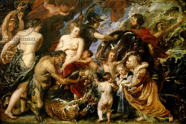 Minerva Protects Pax from Mars (Peace and War), 1629-30 (oil on canvas)