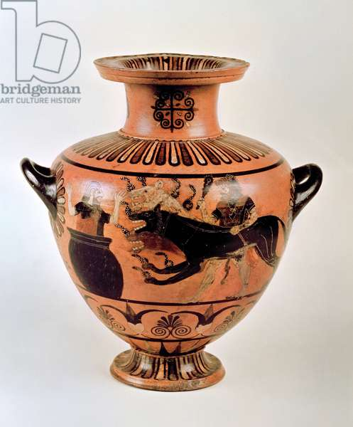 Archaic Ionian Hydria depicting Heracles Bringing Cerberus to Eurystheus, from Cerveteri, c.530 BC (pottery)