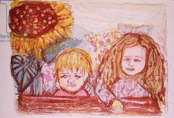 Two Children, 1966 (litho)