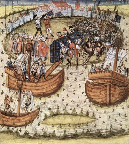 Snark M119: The crusaders loading St. Louis' coffin on board at Tunis in 1270, from the Grandes Chroniques de France, 1450 (vellum)