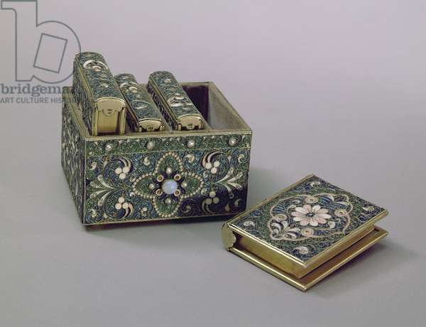 Box holding Gospel covers, enamelled and set with pearls and semi-precious gems, made by silversmith with the monogram H.C.Y., Moscow, 1908-17