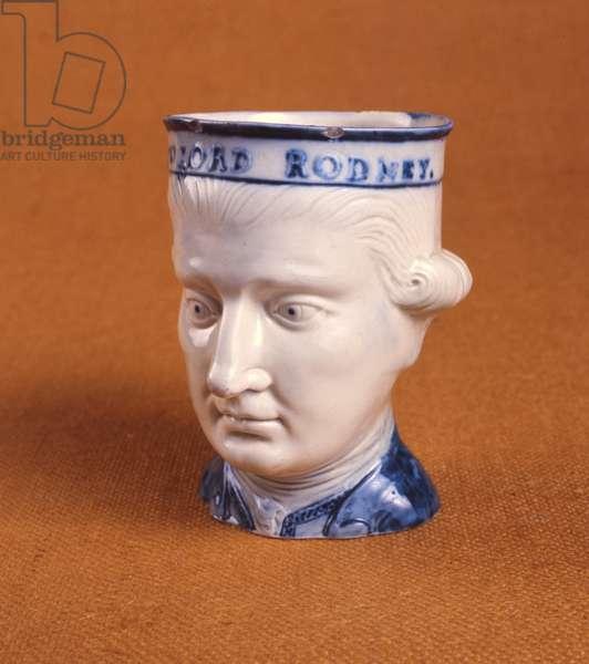 Mask head mug of Lord Rodney, c.1782 (painted & glazed earthenware)