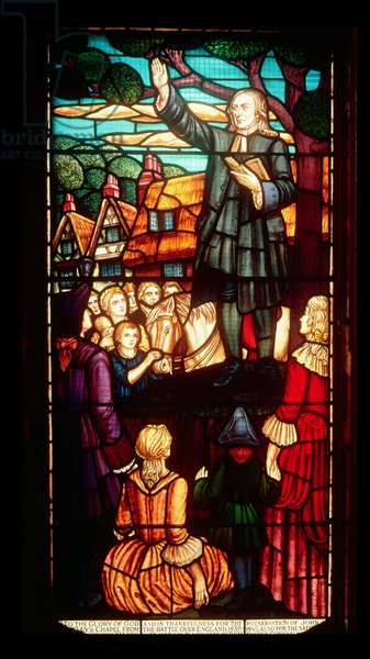 John Wesley (1703-91) Preaching the Gospels in England, c.1890 (stained glass)