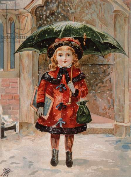 Young Girl with Green Umbrella, Victorian card