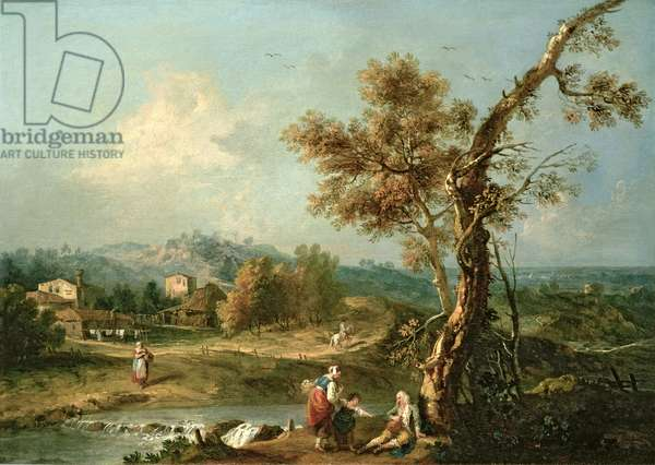 An Italianate River Landscape with Travellers (oil on canvas)