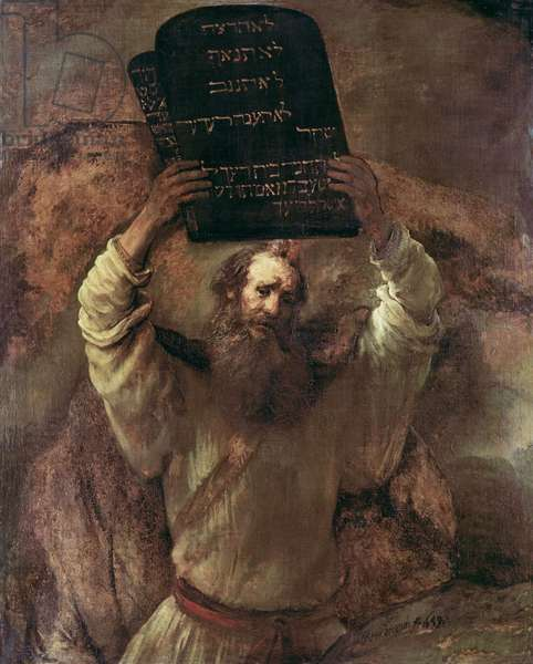 Moses Smashing the Tablets of the Law, 1659 (oil on canvas)