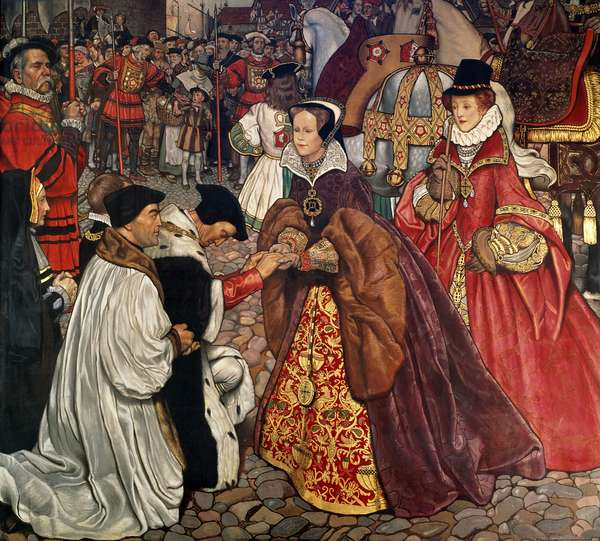 Queen Mary (1516-58) and Princess Elizabeth (1533-1603) entering London, 1553, 1910 (fresco)