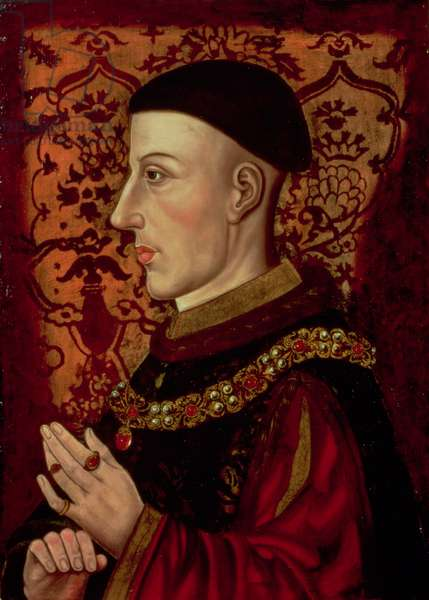 Portrait of Henry V (1387-1422) (oil on panel) (see 106922)