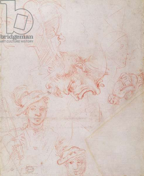 Studies of heads, 1508-12d(red chalk on paper) (verso)