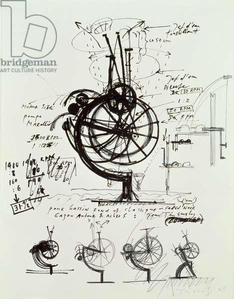 Au Bassin Rond et Classique, 1968 (pen & ink on paper)