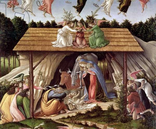 Mystic Nativity, 1500 (oil on canvas) (detail)