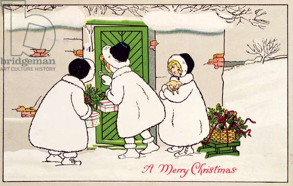 'A Merry Christmas': Three Little Girls with Christmas Fayre, Victorian postcard