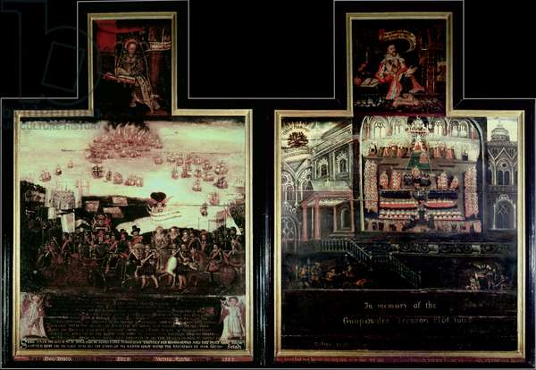 Diptych depicting the Arrival of Queen Elizabeth I (1530-1603) at Tilbury, the Defeat of the Spanish Armada and the Gunpowder Plot (oil on panel)