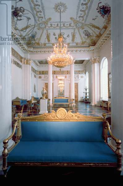White Hall, with Empire furniture designed by Carlo Rossi (1775-1849) and frescoes by Antonio Vighi, Michael's Palace, St.Petersburg