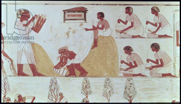 Scribes recording the harvest, detail from a copy of a wall painting from the tomb of Menna at Thebes, c.1400 BC (detail of 85723)