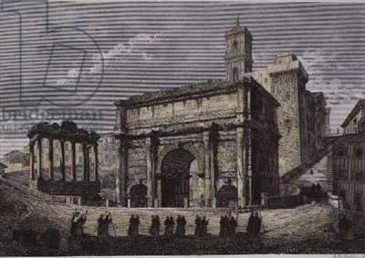 Arch of Septimus VI, The Forum, Rome, from a series by Gaetano Cottafavi, c.1850 (steel engraving)