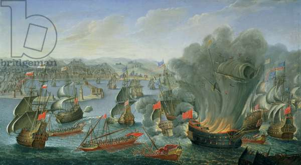 Franco-Spanish Action off the Port of Barcelona in July 1642,  (oil on canvas)