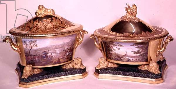 Two tureens from the Prussian Dinner Service, Berlin, 1816-19 (porcelain & gilt) (see also 3043 and 68588)