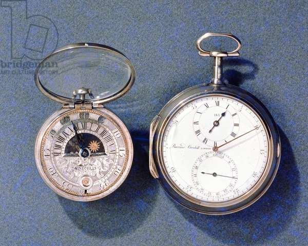 Sun and moon dialled watch, by J.Windmills (fl.1671-1723), c.1700; pocket chronometer, by Barraud, London, 1797