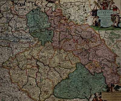 Map of the Kingdom of Bohemia, c.1701 (coloured engraving)