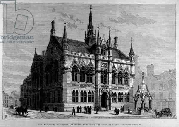 New Municipal Buildings, Inverness: Opened by the Duke of Edinburgh, from 'The Illustrated London News', 28th January 1882 (engraving)