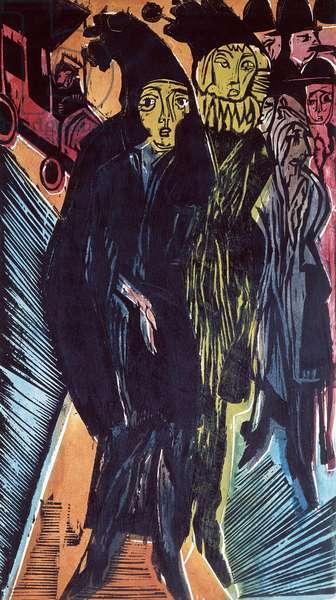 Street Scene (coloured litho) 1922