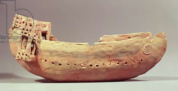 Model of a boat with a high poop deck from a Tomb at Amathus, Cyprus, 6th century BC (terracotta)