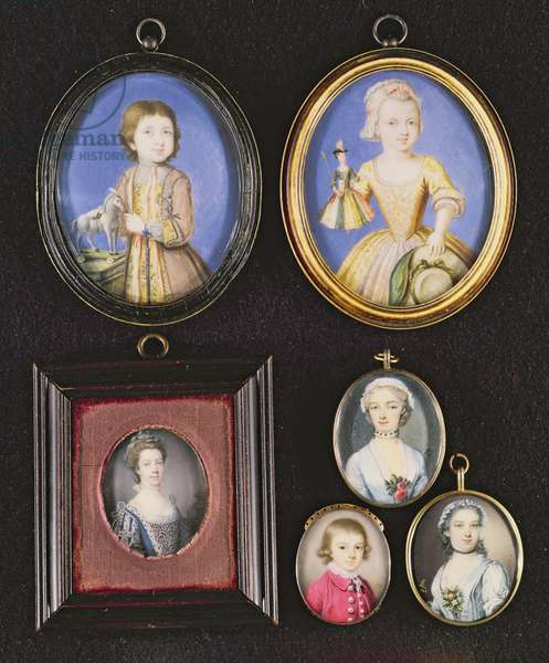Portrait Miniatures. L to R and T to B: Richard Whitmore by Bernard Lens (1682-1740); Katherine Whitmore by Bernard Lens (1682-1740); Queen Charlotte by Samuel Finney (1718-98); Unknown Boy by Thomas Redmond (1745-85); Peg Wolfington by A.B. Lens (1713-79); Unknown Woman by P.P. Lens (1714-50)