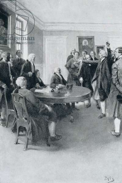 After the Massacre: Samuel Adams Demanding of Governor Hutchinson the Instant Withdrawal of British Troops, illustration from 'Colonies and Nation' by Woodrow Wilson, pub. in Harper's Magazine, 1901 (litho)