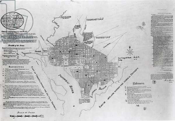 Plan of Washington D.C., pub. in 'Gazette of the United States', Philadelphia, January 4th 1792 (engraving) (b&w photo)