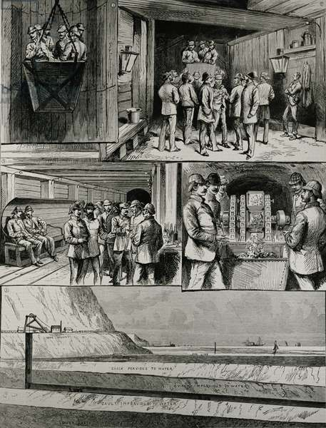 The Channel Tunnel Works at Dover: Going Down in the Cage; Arrival at the Bottom of the Shaft; Swindon Junction; Compressed Air-Boring Machine; Section of Tunnel, from 'The Illustrated London News', 4th March 1882 (engraving)