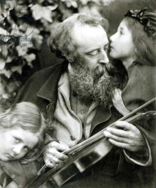 The Whisper of the Rose, a portrait of George Frederick Watts (b/w photo)