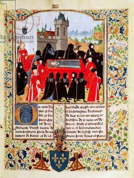 Fr 2691 f.11 Charles VI of France's funeral in 1422 with the Duke of Bedford as chief mourner and members of the Parisian Parliament