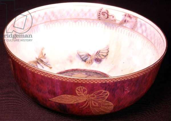 Lustre bowl decorated with butterflies, c.1920 (ceramic)