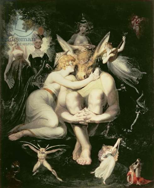 Titania Awakes, Surrounded by Attendant Fairies, clinging rapturously to Bottom, still wearing the Ass's Head, 1793-4